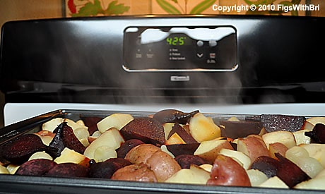 Remove hot roasted veggies from oven with care