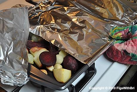 Remove aluminum foil halfway through the roasting process.