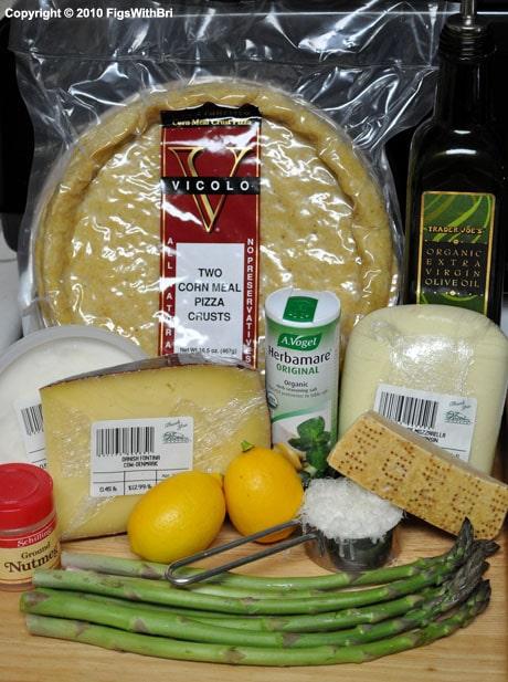 Ingredients for asparagus lemon ricotta pizza
