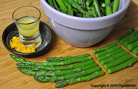 Crisp blanched asparagus cut into segments