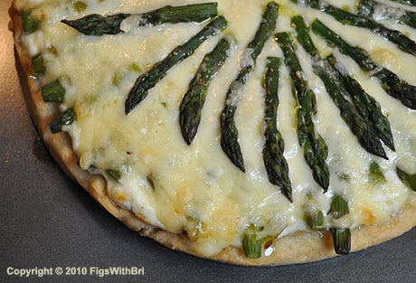 meyer memon ricotta pizza with asparagus