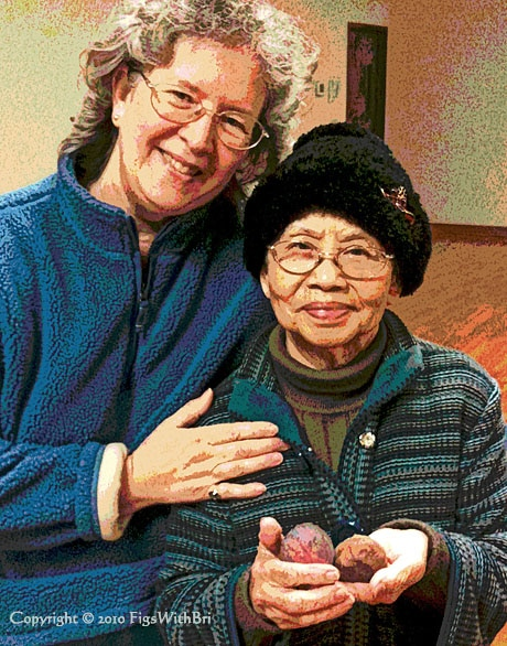old Chinese lady holding a gift of fresh figs for her younger friend