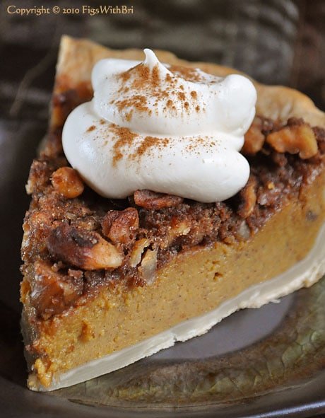 pumpkin streusel pie with whipped cream