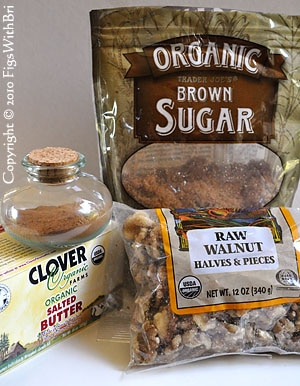 classic streusel ingredients: butter, ground cinnamon, brown sugar, fresh walnuts