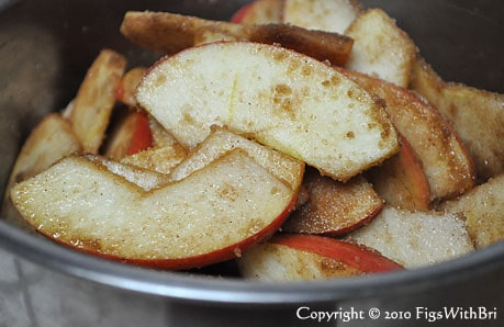 close up photo of cinnamon sugared fresh apple slices