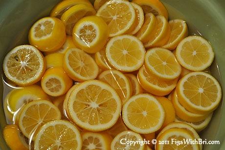 meyer lemon slices soaking in water