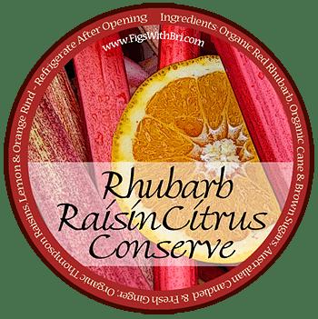 label graphic for rhubarb raisin citrus conserve