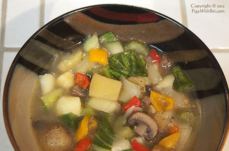 golden yellow potato bok choy soup