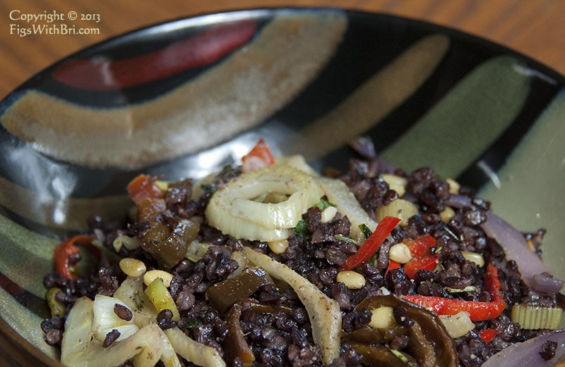 black rice served with sauteed fennel & vegetables