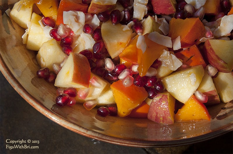 winter fruit salad persimmon apple pomegrante