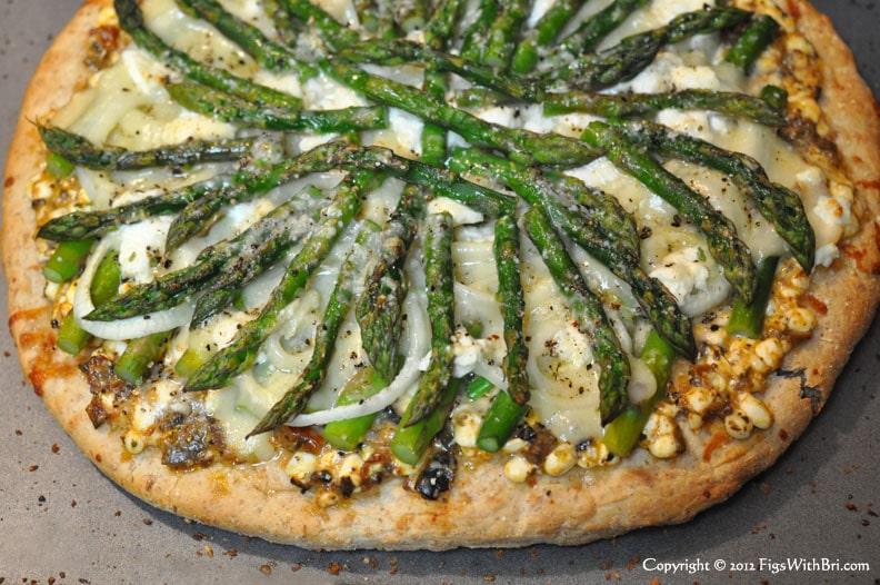 hot asparagus, olive bruchetta & goat cheese pizza