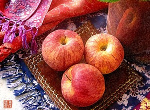 fruit art print 3 cameo apples still life