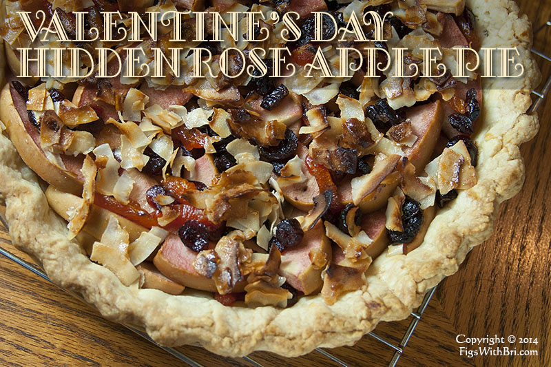 hidden rose apple pie with dried cranberries and blenheim apricots