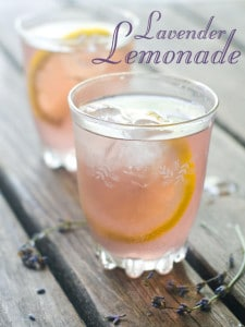 lavender lemonoade in chilled glass